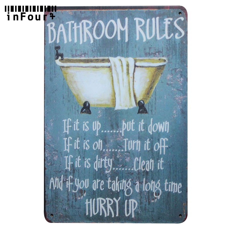 Wholesale Bathroom Rules Wall Decor Metal Tin Sign Vintage