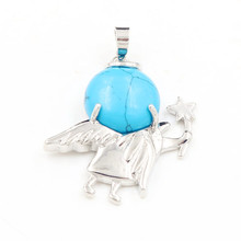 FYJS Unique Silver Plated Cute Angel Star with Blue Turquoises Stone Round Bead Pendant Popular Jewelry