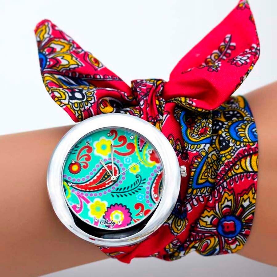 shsby design  Ladies flower cloth wristwatch fashion women dress watch high quality fabric watch sweet girls Bracelet  watch