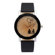 NEW glass belt quartz watches Quartz Leather Watches Couple Convex Glass Luxury couple spire High Quality Clock Wristwatch #YL5(China)