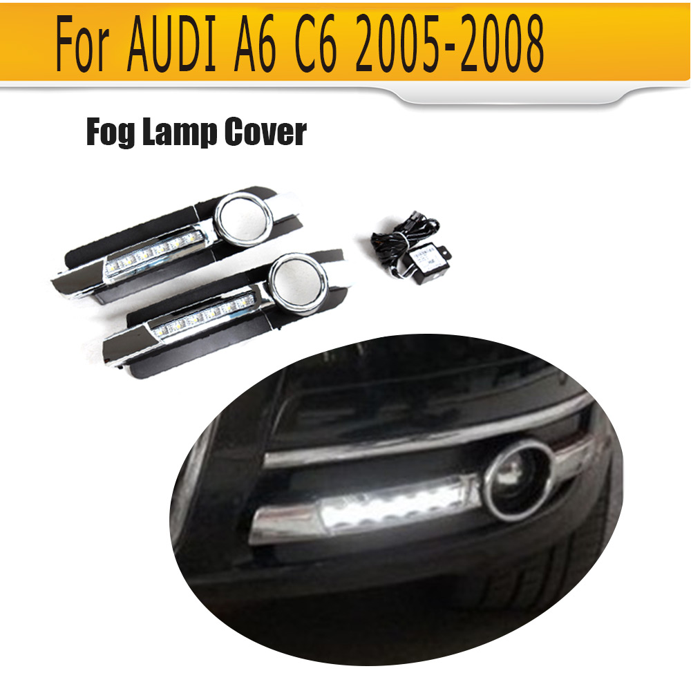 New Arrival Front Bumper Lower Insert Fog Lamp Cover ABS Fog Light Mask Cover Grill Grid With LED For Audi A6 C6 2005-2008 kkmoon for audi a6 c6 one pair of car front fog lights led lamp 2005 2006 2007 2008 4f0941700