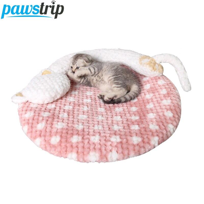 Pawstrip Cute Cartoon Dot Cat Beds Soft Fleece Small Dog