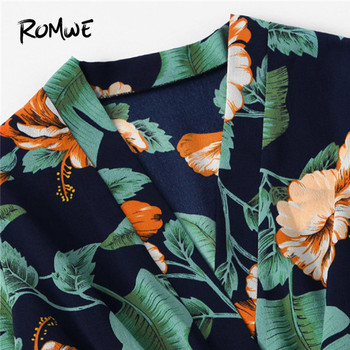 ROMWE Fluted Sleeve Floral Print Surplice Romper With Belt Women Summer Vocation Three Quarter Floral V neck Romper 3