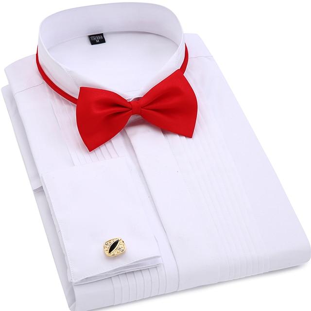 Men Wedding Tuxedo Long Sleeve Dress Shirts French Cufflinks Swallowtail Fold Dark On Design Gentleman Shirt