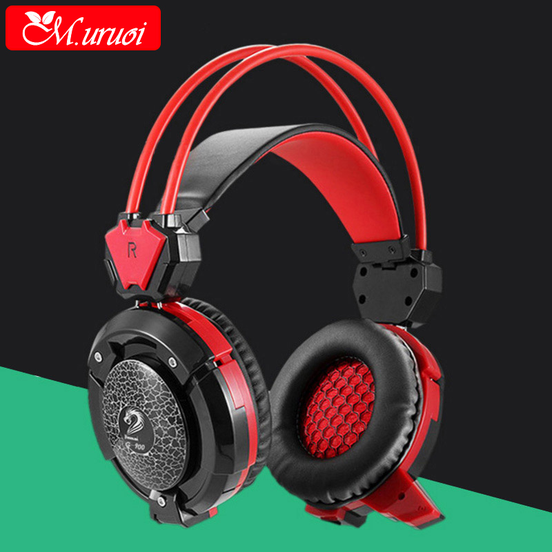 M.uruoi Luminous Earphone Gaming Headset Wired Headphones For Computer With Microphones Casque Audio Stereo Headfone For Music 3 5mm wired headphone foldable headset music stereo bass casque audio with microphone for computer pc gamer mp3 player headfone