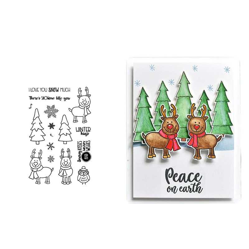 MERRY CHRISTMAS DEER TREE Transparent Clear Silicone Stamp Seal for DIY scrapbooking photo album Decorative clear stamp sheets in Cutting Dies from Home Garden
