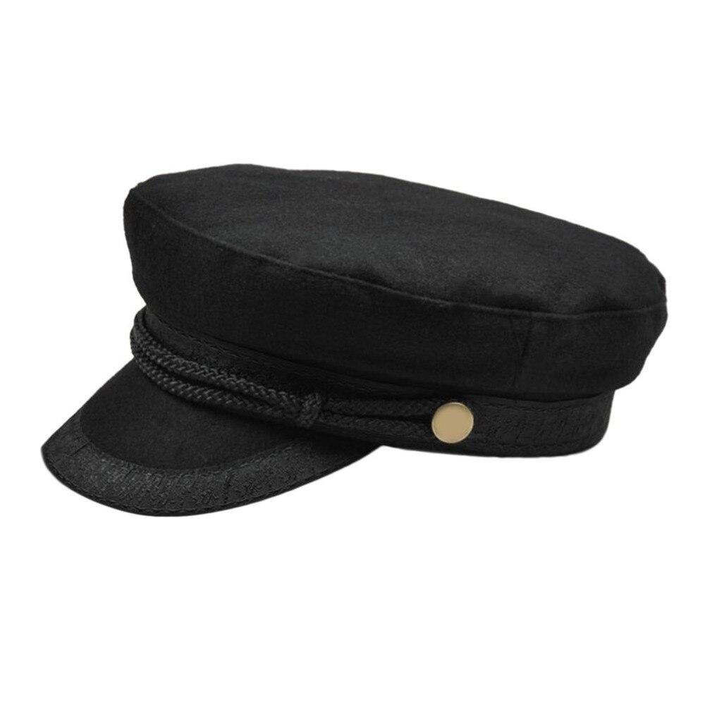Women Military Beret Hats Sailor Caps Flat Bone Casquette Militaire Stylish Embroidery Lace Decoration Captain Cotton Naval Caps