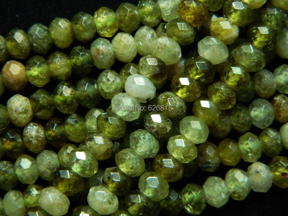 Prix pour Livraison gratuite naturel 2.5-3*4mm vert granatum à facettes rondelle lâche pierre perles de haute qualité pour les bijoux faire