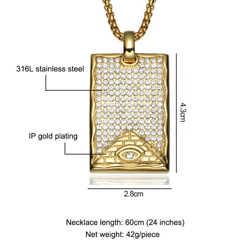 ヒップホップが出て AAA CZ クリスタルイルミナティピラミッド目のためのネックレス & ペンダントゴールドチタン犬タグネックレス男性ジュエリー