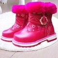 Marca 1 par invierno tobillo Rainboots cuero de algodón acolchado de nieve + tamaño interno 14 - 17 cm de la muchacha caliente suave bebé botas