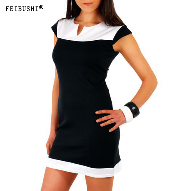 FEIBUSHI black Summer Casual Dress Women Sleeveless Cotton Slim Dress V neck  Business Wear to Work Office Bodycon Midi Dress e06019fd169a