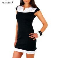 FEIBUSHI Women S Elegant Celebrate Elegant V Neck Sleeveless Vestidos Business Fitted Stretch Bodycon Mini Dress