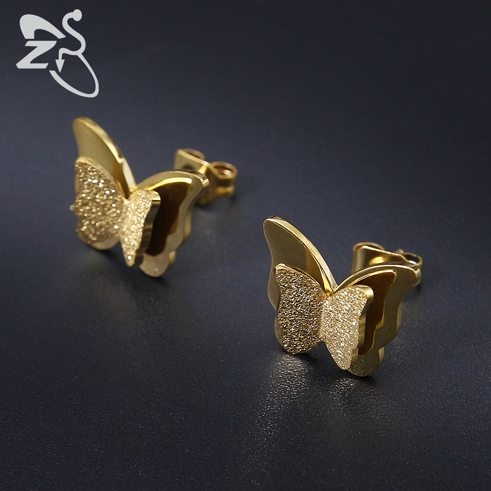 Trendy øreringer i rustfritt stål for kvinner Child Rose Gold Color Frosted Double Butterfly Earrings Ear Studs Earring Gift smykker