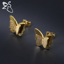 Trendy Stainless Steel Earrings for Women Child Rose Gold Color Frosted Double Butterfly Earrings Ear Studs Earring Gift Jewelry