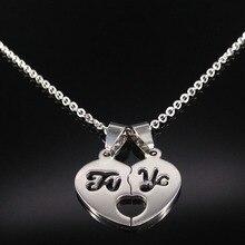 57ecaa75f843 2019 España amor corazón Acero inoxidable Collar para mujer Color plata  pareja cadena collares joyería regalo Collier Femme N681.