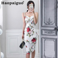 Plus Size Print Floral Wrap Dress Summer Spaghetti Strap Wrap Bodycon Dress Women Empire White Sexy Dresses Women Robe Longue spaghetti strap satin wrap dress