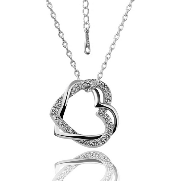 Women white gold color heart pendant necklace chain link jewelry women white gold color heart pendant necklace chain link jewelry accessories pendulum bijouterie bijoux floating aloadofball