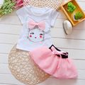 New 2016 Hot Summer Baby Girl's Set Suit T shirt TuTu Dress Print Girl Rainbow Suit Girls Clothing Sets Free Shipping