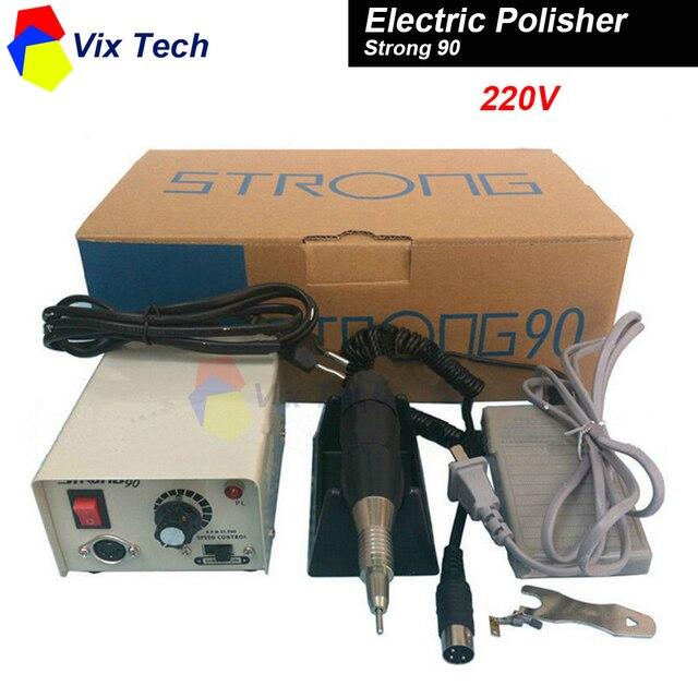 Fuerte 90 Micromotor Mano Pulido Pulidor Dental equipo De Laboratorio, 220 V 0-35000 rpm con 102 Pieza de Mano para la joyería