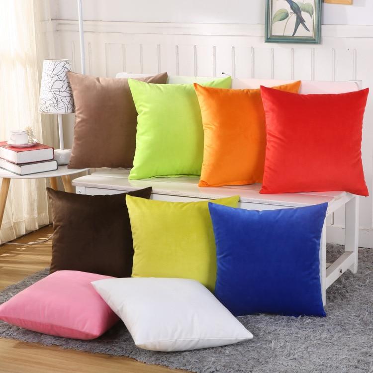 Candy Colored Short-pile Velvet Sofa Cushion Covers For Sofa Pillowcase Soft Warm Throw Pillow Case Home Decorative 45x45cm