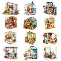 Robotime DIY Holz Miniatur Puppenhaus 1:24 Handgemachte Puppe Haus Modell Gebäude Kits Spielzeug Für Kinder Erwachsene Drop Verschiffen Puppenhäuser    -
