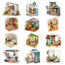 Robotime DIY Wooden Miniature Dollhouse 1:24 Handmade Doll House Model Building Kits Toys For Children Adult Drop Shipping robotime wooden mini architecture toy diy 3d puzzle sam s study miniature model building kits wood toys for adults bookstore