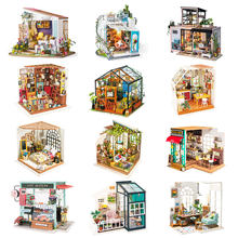 Robotime DIY Wooden Miniature Dollhouse 1:24 Handmade Doll House Model Building Kits Toys For Children Adult Drop Shipping(China)