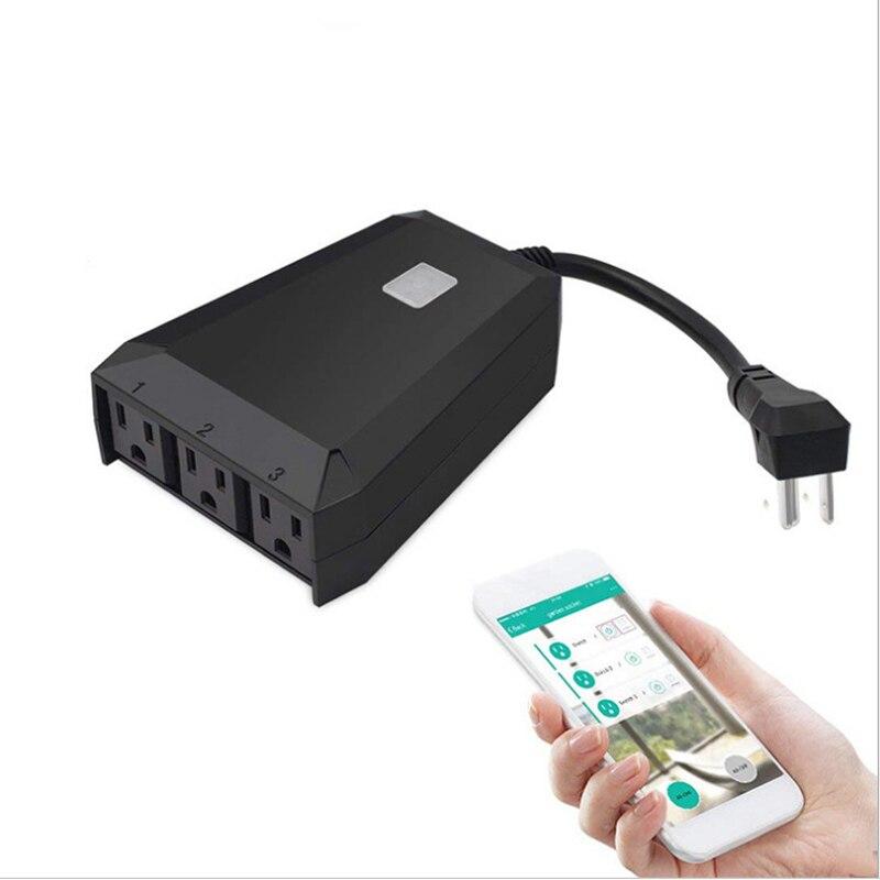 Adaptateur de prise étanche extérieur IP44 étanche WIFI interrupteur de prise intelligente 1 en 3 automatisation APP télécommande Alexa/Google