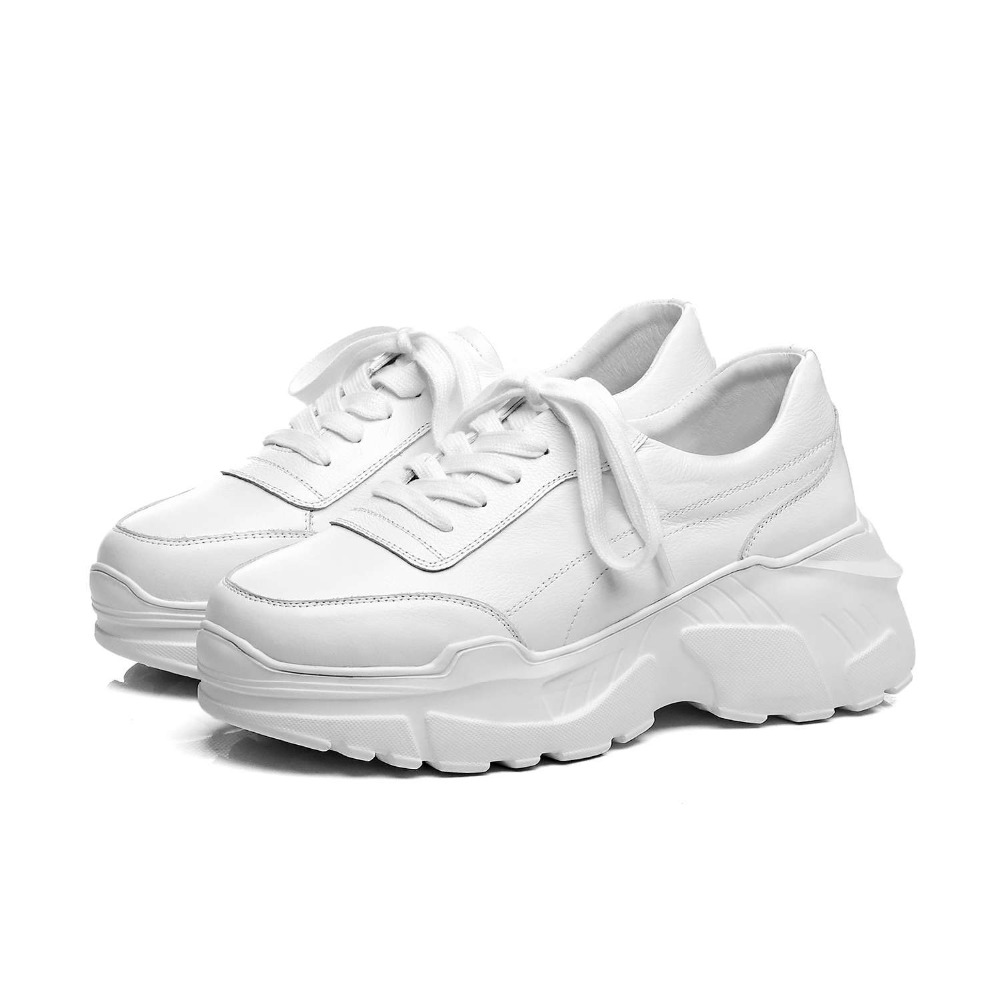 2019 new arrival full grain leather popular white sneakers high bottom platform lace up concise style woman vulcanized shoes L97