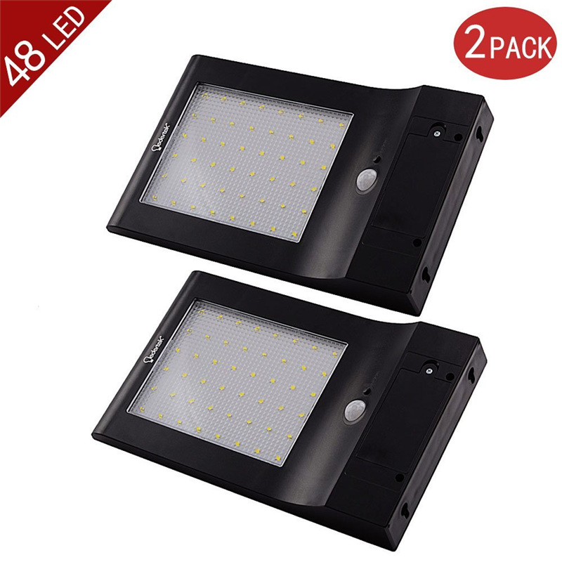ФОТО 2-Pack Brightest 48 LED Solar Power Light Motion Sensor IP65 Wall Garden Outdoor Security Lamp 4 Modes With 5.5V 5W Solar Panel