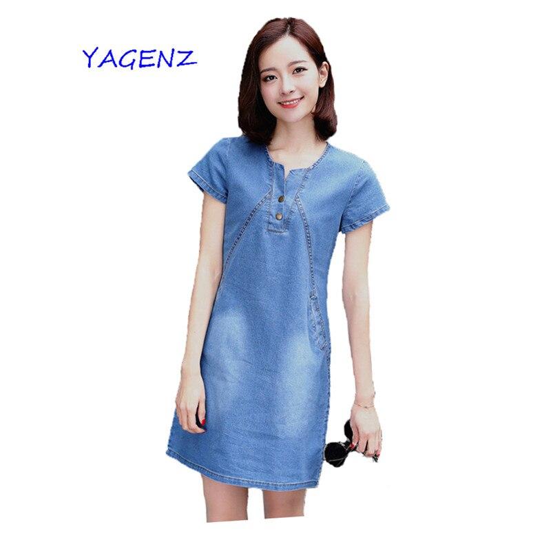 Plus velikost S-3XL 2019 Dámské letní džínové šaty Módní volné džínové šaty dámské Bavlněné šaty Dámské oblečení YAGENZ A8