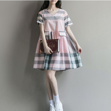 Summer Kawaii Mori Girl Striped Dress Party Pockets celebrity-inspired Women Elegant Vintage Retro Pink Tartan Clothing V083
