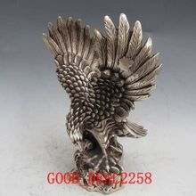 Old Tibet Silver Bronze Handwork Carved Eagles Statue w Qing Dynasty Mark NR6699
