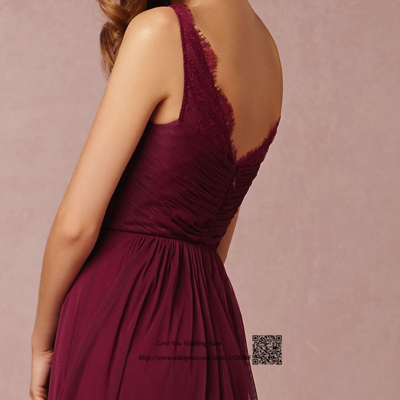 Burgundy Bridesmaid Dresses 2016 Maroon Long Lace Maid Of Honor Dress For Weddings Floor Length Crystal Sash Wedding Guest