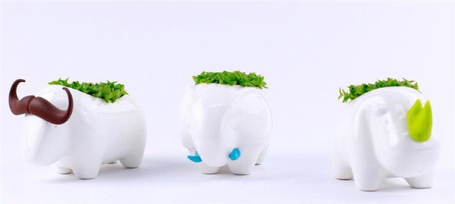 office planter. Animal Desktop Planting Rhinoceros / Buffalo Elephant Home Planter Decoration Lovely Storage Office Potting Bonsai