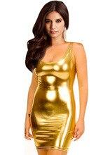 SexeMara örgü E9 WomenTank Elbise Süper Seksi Bileşik Deri Clubwear Altın/Gümüş/Siyah Mini Yaz Bodycon Elbise ntage