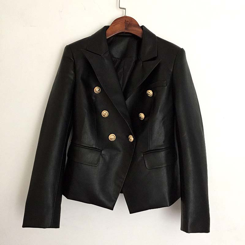 Women's Clothing Blazers Newest Fall Winter 2019 Designer Blazer Jacket Womens Lion Metal Buttons Double Breasted Synthetic Leather Blazer Overcoat Terrific Value