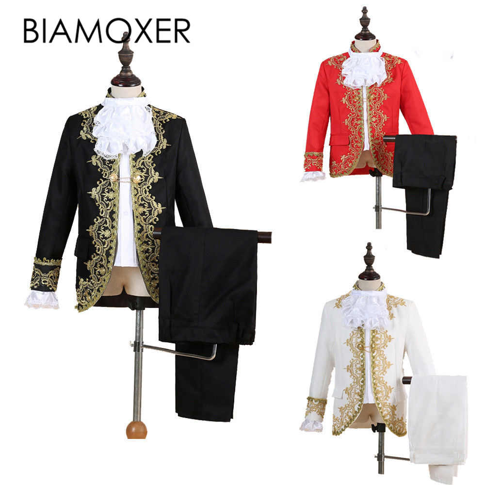 Biamoxer Kid Royal King Prince Costume Men Kids Medieval Leader Cosplay Jacket Pant Full Set