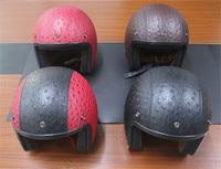 Pu Leather Harley Helmets Motocross Chopper Bike Helmet 3 4 Open Face Vintage Motorcycle Helmet Motorcycle