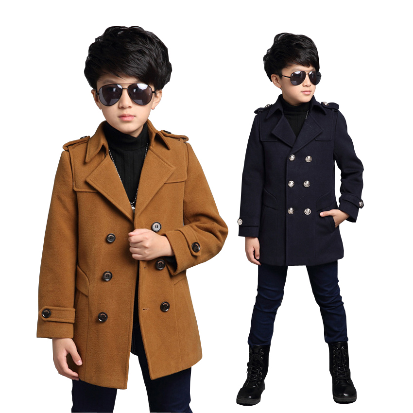 ActhInK New Big Boys Winter Woolen Jacket Double Breasted Teenage Boys Winter Trench Coat Boys Woolen Long Jacket Kids Outerwear springfield springfield sp014emijg74 page 8