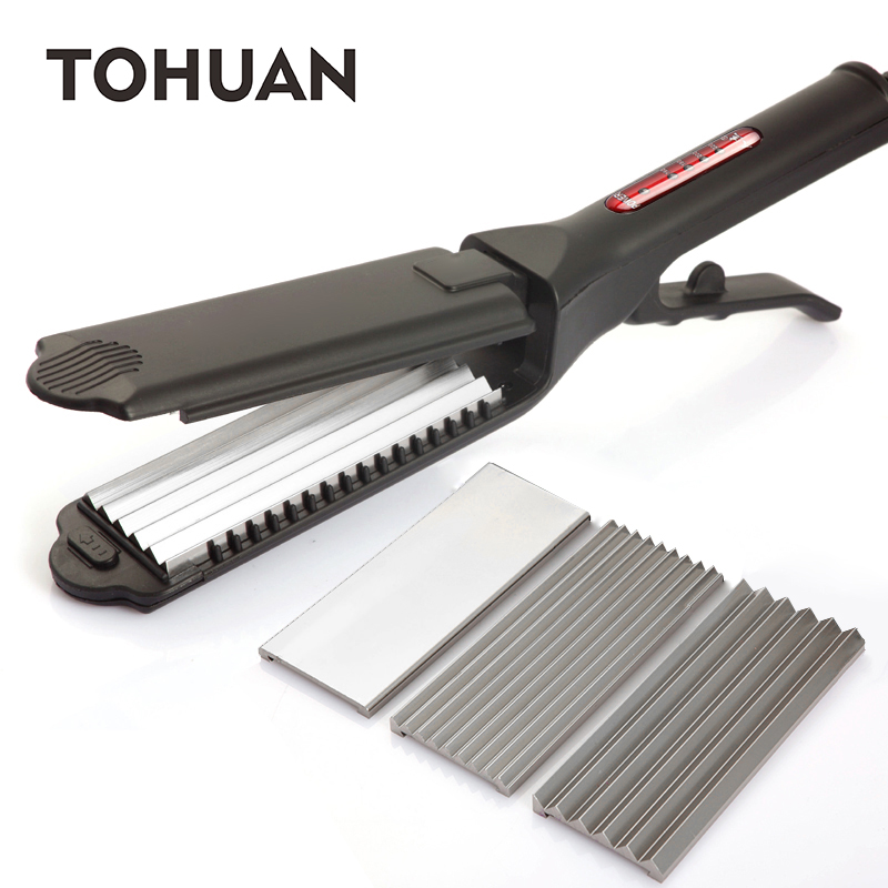 TOHUAN 3 In 1 Corrugated Iron Hair Straightener Anti-scald Flat irons Fluffy Wave Iron Adjustable Temperature Styling Tools professional vibrating titanium hair straightener digital display ceramic straightening irons flat iron hair styling tools eu