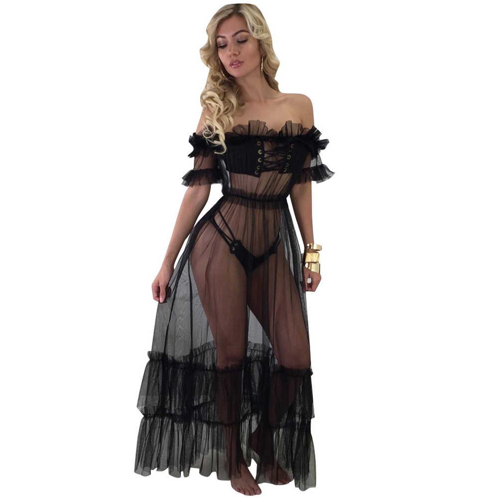 8996cea4f6e Black Off Shoulder Sheer Mesh Maxi Dress Women Sexy See Through Beach  Summer Dress Short Sleeve