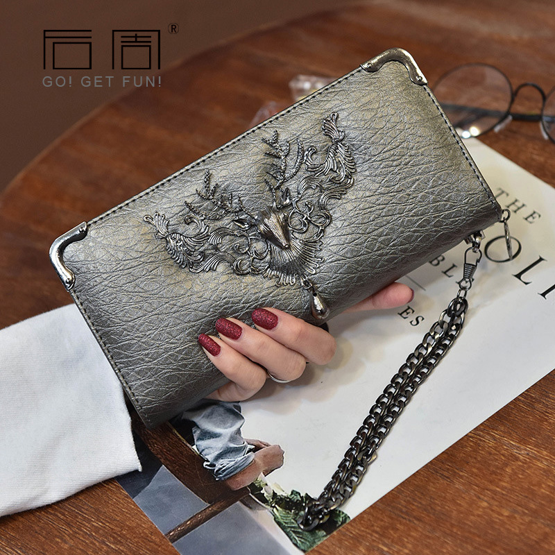 Elk Women Wallet Long Fashion Casual chain Purses female Wallets Clutch bag Coin holder Luxury Purse for Lady Women's wallets