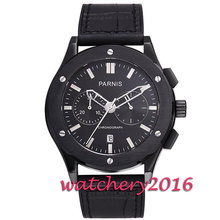 New 43mm Parnis black dial black PVD case sapphire glass date adjust full chronograph quartz movement Men's Watch