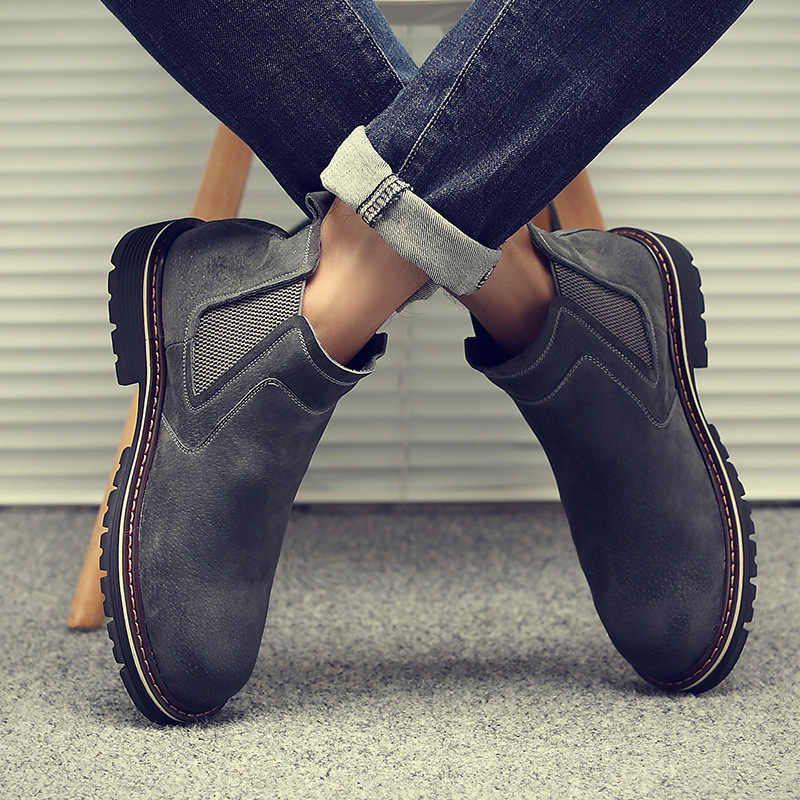 Erkek Botları Deri Domuz Derisi Chelsea Çizmeler Çizmeler erkek Joker Iş Giysisi erkek ayakkabıları H-3315