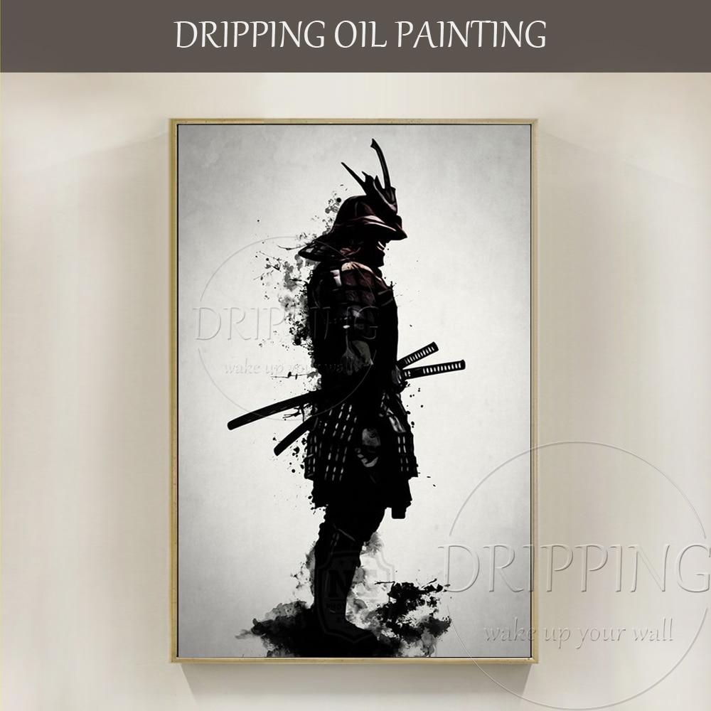 Dipinto A mano Astratta Samurai Armatura Pittura A Olio su Tela di Arte Della Parete della Tela di canapa Giappone Samurai Armatura Oil for Living camera