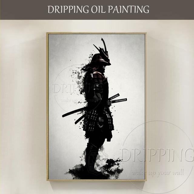 Hand painted Abstract Samurai Armor Oil Painting on Canvas Wall Art ...