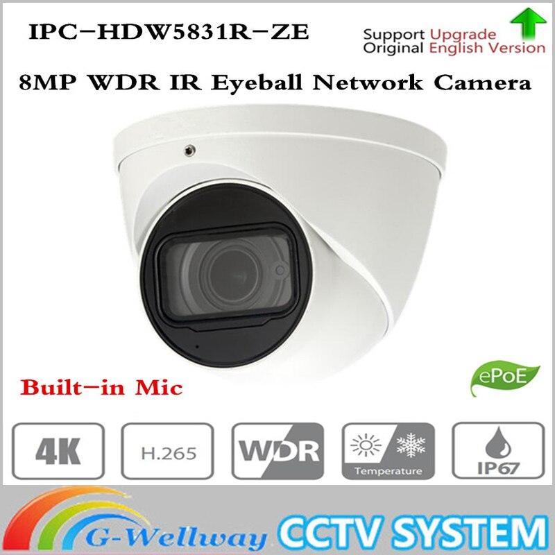 ahua IPC-HDW5831R-ZE 8MP WDR IR Eyeball Network Camera 2.7mm-2mm motorized lens Built-in Mic Memory SD Card IP67 PoE 50m ICR original dahua ipc hdw5831r ze 2017 new arriving cameras 8mp wdr ir eyeball network camera ipc hdw5831r ze free dhl shipping