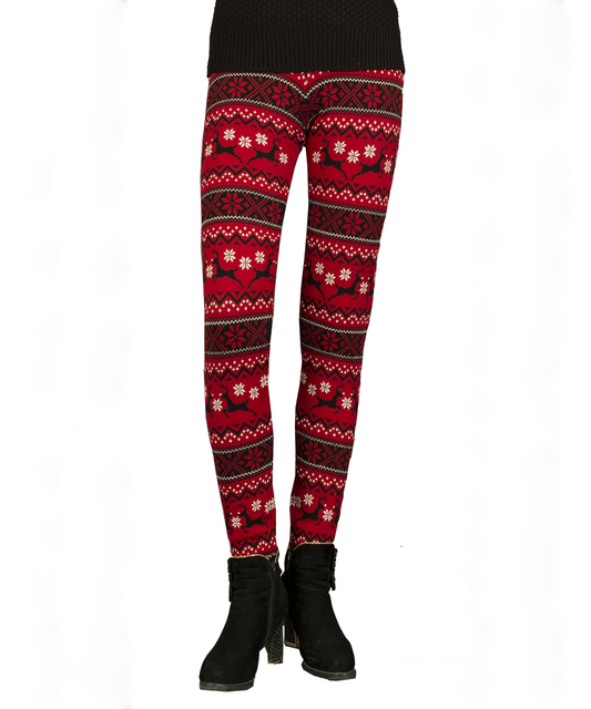 Autumn Winter Christmas Jacquard Weave Cotton Women Thick Knitted Pants Leggings With Deer Beer Snowman Pattern Knitwear Dress