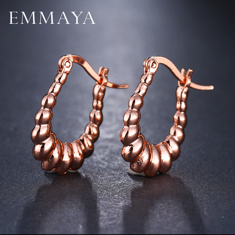 EMMAYA New Rose Gold Color Round Earrings for Women Gril Gift DIY Fashion Jewelry